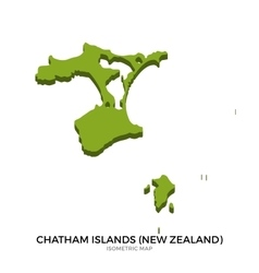 Isometric map of Chatham Islands detailed vector image