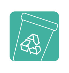 Label recycle can trash to care environment vector