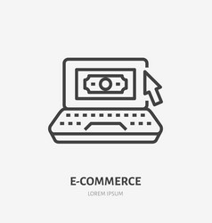 laptop with money and mouse pointer flat line icon vector image