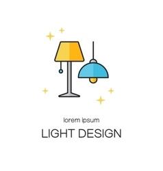 Lighting design line icon logo templates vector