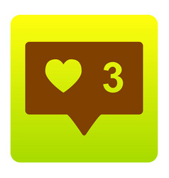 like and comment sign brown icon at green vector image