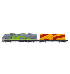 Locomotive with orange cargo container isolated vector