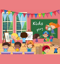 Many kids in the classroom vector