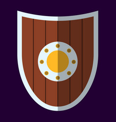 Medieval shield icon and label flat style logo vector