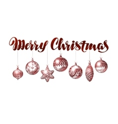 Merry Christmas banner Vintage xmas decoration vector