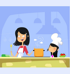 mom and daughter cooking in kitchen together vector image