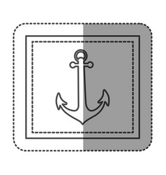 monochrome sticker frame with anchor vector image