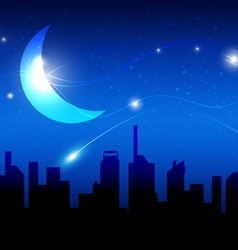 Moon and night of city vector