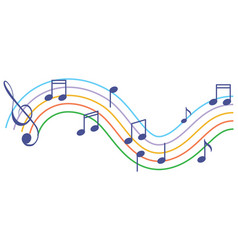 Musical symbols wave on white background vector