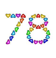 number 78 seventy eight colorful hearts on white vector image
