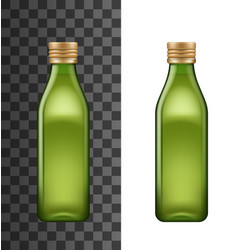 Olive oil green bottle with lid realistic mockup vector