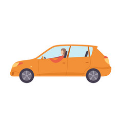 Orange car with male driver side view vector