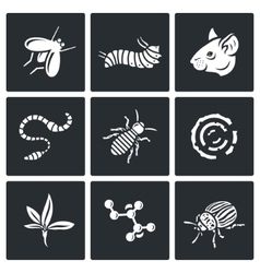 Parasites icons set vector