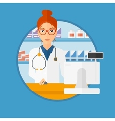 Pharmacist at counter with computer monitor vector