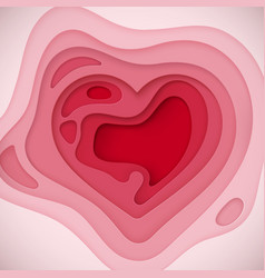 pink paper layered heart shape vector image