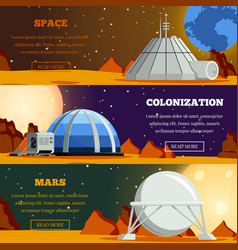 planet colonization flat banners vector image