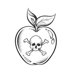 poison apple line art and dot work hand drawn vector image