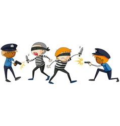 Policeman and criminal fighting vector image
