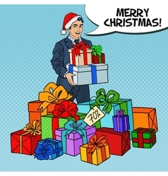 Pop Art Man in Santa Hat with Gifts Christmas Sale vector