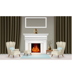 realistic living room interior concept with vases vector image