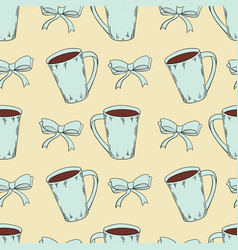 seamless pattern of cocoa with bow knots vector image