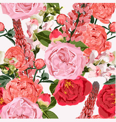 seamless pattern roses flowers with peony vector image