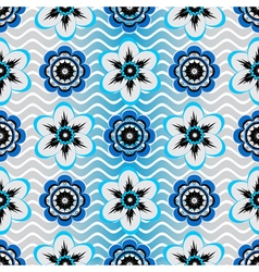 Seamless white-gray-blue floral pattern vector