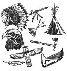 set indian elements vector image