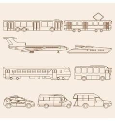 set of line public transport vector image