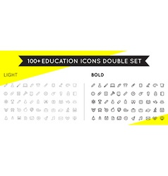 Set of Thin and Bold Education Icons can be used vector