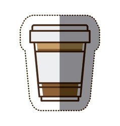 Silhouette color sticker with glass of cappuccino vector