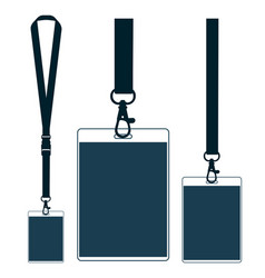 silhouette of lanyard with neckband badge with vector image