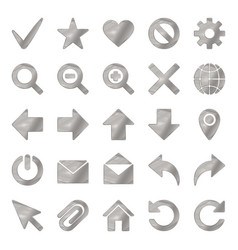 silver colored metal chrome web icons set vector image