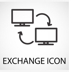 simple exchange line art icon vector image