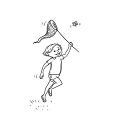 Sketch boy run net to catch butterflies vector