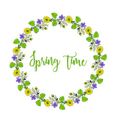 Spring wreath with violet and pheasant s eye vector