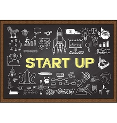 Start up on chalkboard vector image