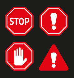 stop sign no entry sign and attention sign vector image