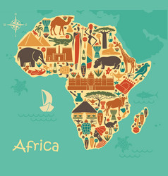 traditional symbols of africa in the form vector image