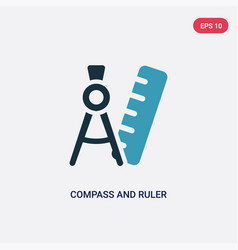 Two color compass and ruler for mathematics icon vector