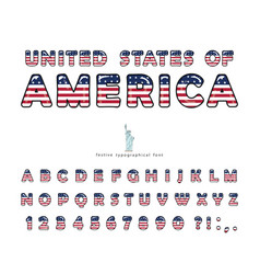 usa cartoon font united states america vector image