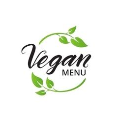 Vegan menu hand drawn brush lettering vector image