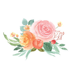 Watercolor florals hand painted bouquets lush vector