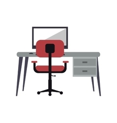 Workplace modern pc pink armchair desk vector