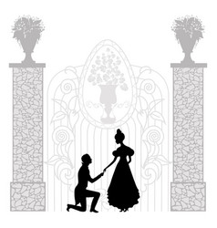 young couple silhouette vector image