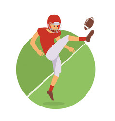 young player kick the ball in american football vector image