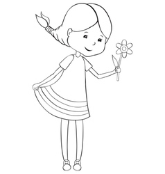 Girl with flowers vector