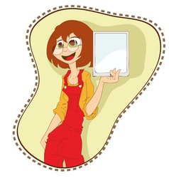girl with tablet pc vector image
