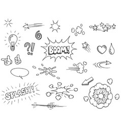 hand drawn comic elements vector image vector image