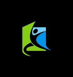 active people fitness sport logo vector image